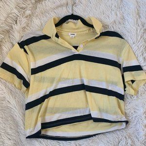 Garage Yellow and White Striped Cropped Tee